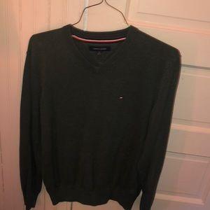 Green Tommy Hilfiger V neck sweater